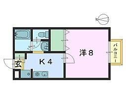 奈良県大和郡山市筒井町の賃貸アパートの間取り