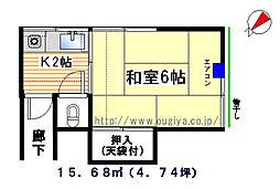 高橋荘[3号室]の間取り