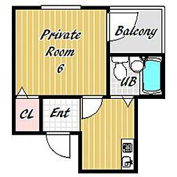 パラツオ姫島[1D号室号室]の間取り
