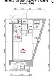 福岡市地下鉄箱崎線 呉服町駅 徒歩12分の賃貸マンション 14階1Kの間取り