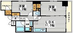 リーガル北心斎橋[10階]の間取り