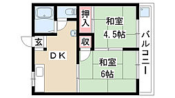 愛知県名古屋市南区呼続1丁目の賃貸アパートの間取り