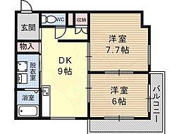 藤沢台樋口マンション 3階2DKの間取り