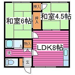 北海道札幌市東区北三十六条東23丁目の賃貸アパートの間取り