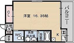 南海線 堺駅 徒歩2分の賃貸マンション 8階ワンルームの間取り
