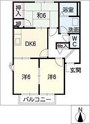 クレストハウスA棟[2階]の間取り