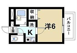 ラポール田井庄B 1階1Kの間取り