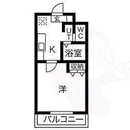 名鉄常滑線 大同町駅 徒歩7分の賃貸マンション 1階1Kの間取り