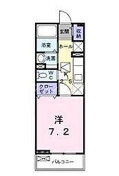 JR山陽本線 新井口駅 徒歩16分の賃貸アパート 1階1Kの間取り