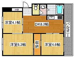 Osaka Metro南港ポートタウン線 南港口駅 徒歩3分の賃貸マンション 3階3DKの間取り
