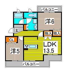 サンパーク芝[4階]の間取り