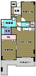 ダイアパレス富田林ステーションスクェア[4階]の間取り