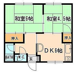 兵庫県宝塚市御殿山3丁目の賃貸アパートの間取り