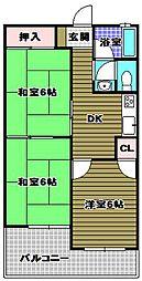 泉ヶ丘コーポラスB棟[1階]の間取り