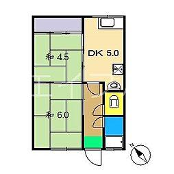 第二薊野荘[2階]の間取り