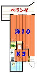 バス 市営伊佐住宅前下車 徒歩2分の賃貸アパート 3階1Kの間取り