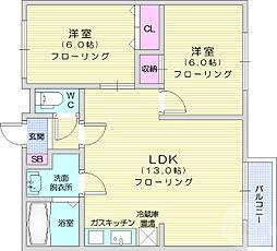 サンライズパーク 1階2LDKの間取り