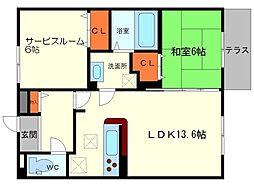 サンスクエア千里万博B棟 3階2LDKの間取り