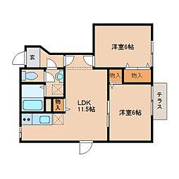 JR桜井線 柳本駅 徒歩7分の賃貸アパート 1階2LDKの間取り