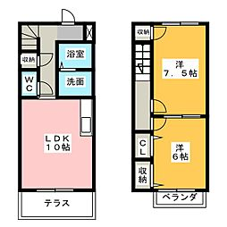 [テラスハウス] 静岡県磐田市明ケ島原 の賃貸【/】の間取り