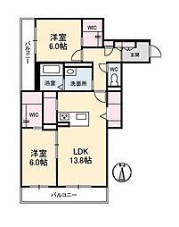 仮)ベレオ古川南 2階2LDKの間取り