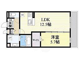 (仮称)東淀川区山本ハイツ 1階1LDKの間取り
