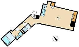 Laulea 2階ワンルームの間取り