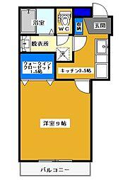 つくばエクスプレス つくば駅 徒歩15分の賃貸アパート 2階1Kの間取り