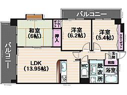 モンアルカディア三宅弐番館[401号室]の間取り