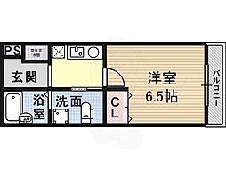 Osaka Metro御堂筋線 北花田駅 徒歩3分の賃貸マンション 2階1Kの間取り