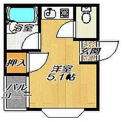 京阪本線 千林駅 徒歩2分の賃貸マンション 1階ワンルームの間取り
