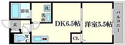 プラド 2階1DKの間取り
