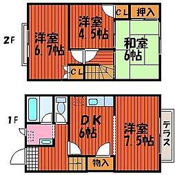 庭瀬メゾン B棟[1階]の間取り
