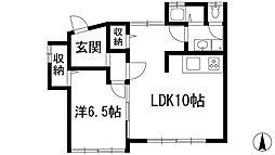 兵庫県宝塚市米谷2丁目の賃貸マンションの間取り