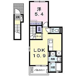 東京都八王子市四谷町の賃貸アパートの間取り
