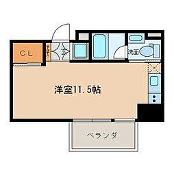 名古屋市営名城線 名城公園駅 徒歩7分の賃貸マンション 6階ワンルームの間取り