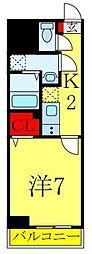 東京メトロ南北線 西ヶ原駅 徒歩9分の賃貸マンション 3階1Kの間取り