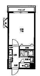 丹木田口ビル 3階ワンルームの間取り
