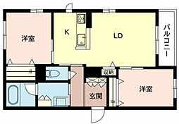 北大阪急行電鉄 千里中央駅 徒歩15分の賃貸マンション 3階2LDKの間取り