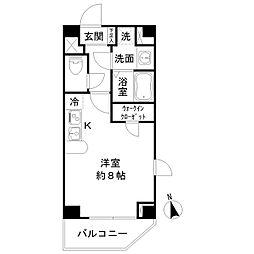 サクレ九段上 13階ワンルームの間取り