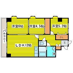 北海道札幌市東区北二十二条東15丁目の賃貸マンションの間取り