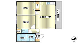 兵庫県姫路市網干区和久の賃貸アパートの間取り