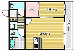 大阪府茨木市中穂積2丁目の賃貸アパートの間取り