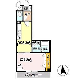 メゾンバイタルC棟 4階1DKの間取り