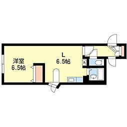 札幌市営東西線 琴似駅 徒歩10分の賃貸マンション 1階1DKの間取り
