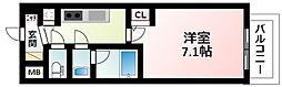 Osaka Metro御堂筋線 西中島南方駅 徒歩6分の賃貸マンション 2階1Kの間取り