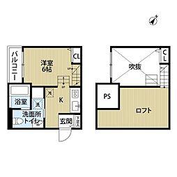 西鉄天神大牟田線 井尻駅 徒歩10分の賃貸アパート 2階ワンルームの間取り