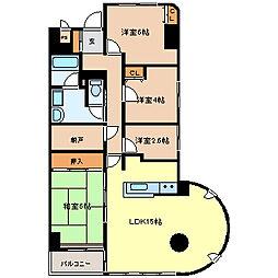 仙台市営南北線 北仙台駅 徒歩6分の賃貸マンション 11階3SLDKの間取り