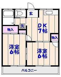 サンライズ早川[103号室]の間取り