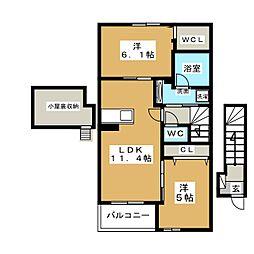 レジデンス西富士宮[2階]の間取り